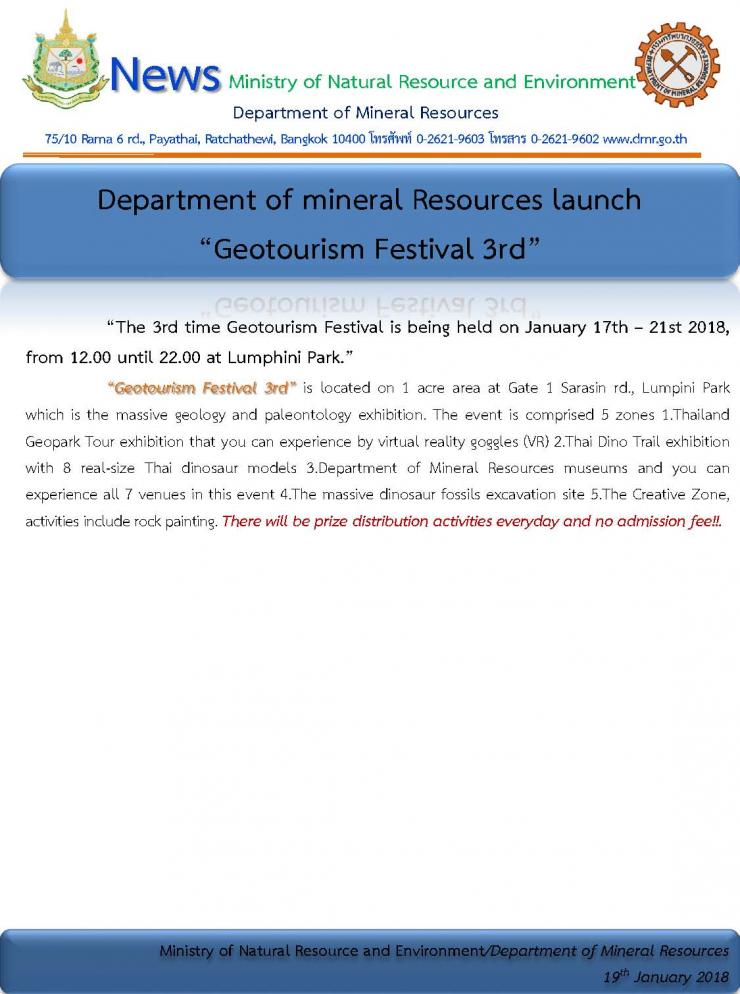 "Department of mineral Resources launch ""GeotourismFestival 3rd"""